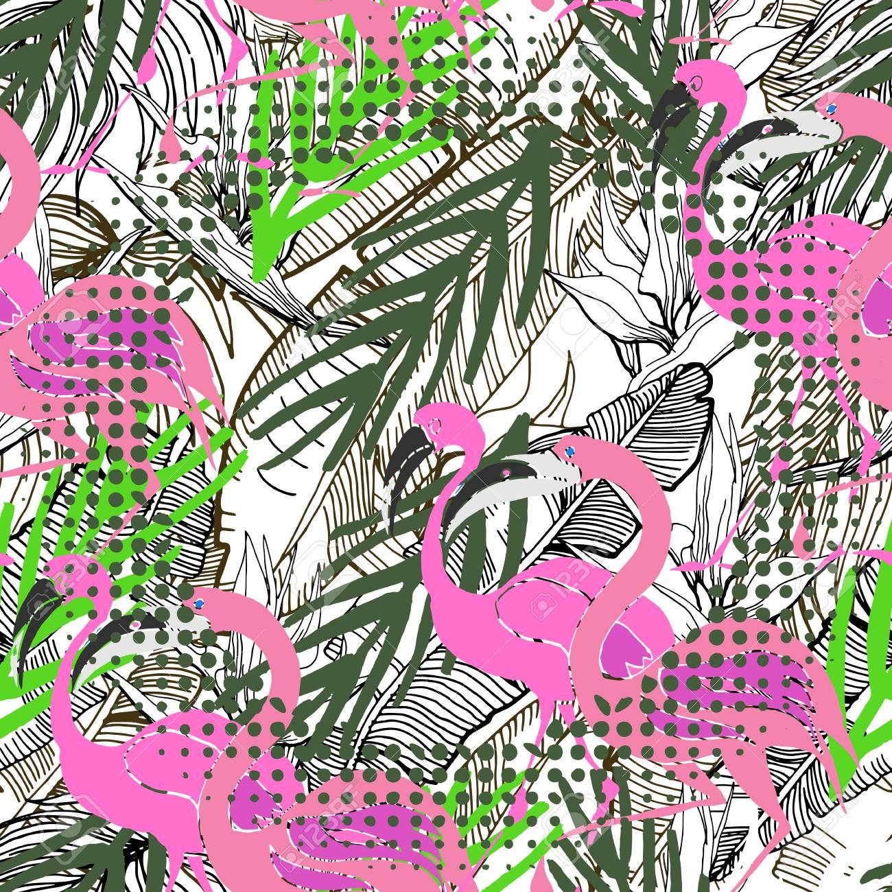Fondo Transparente Tropical. Patrón De Vector Dibujado A Mano Con ...