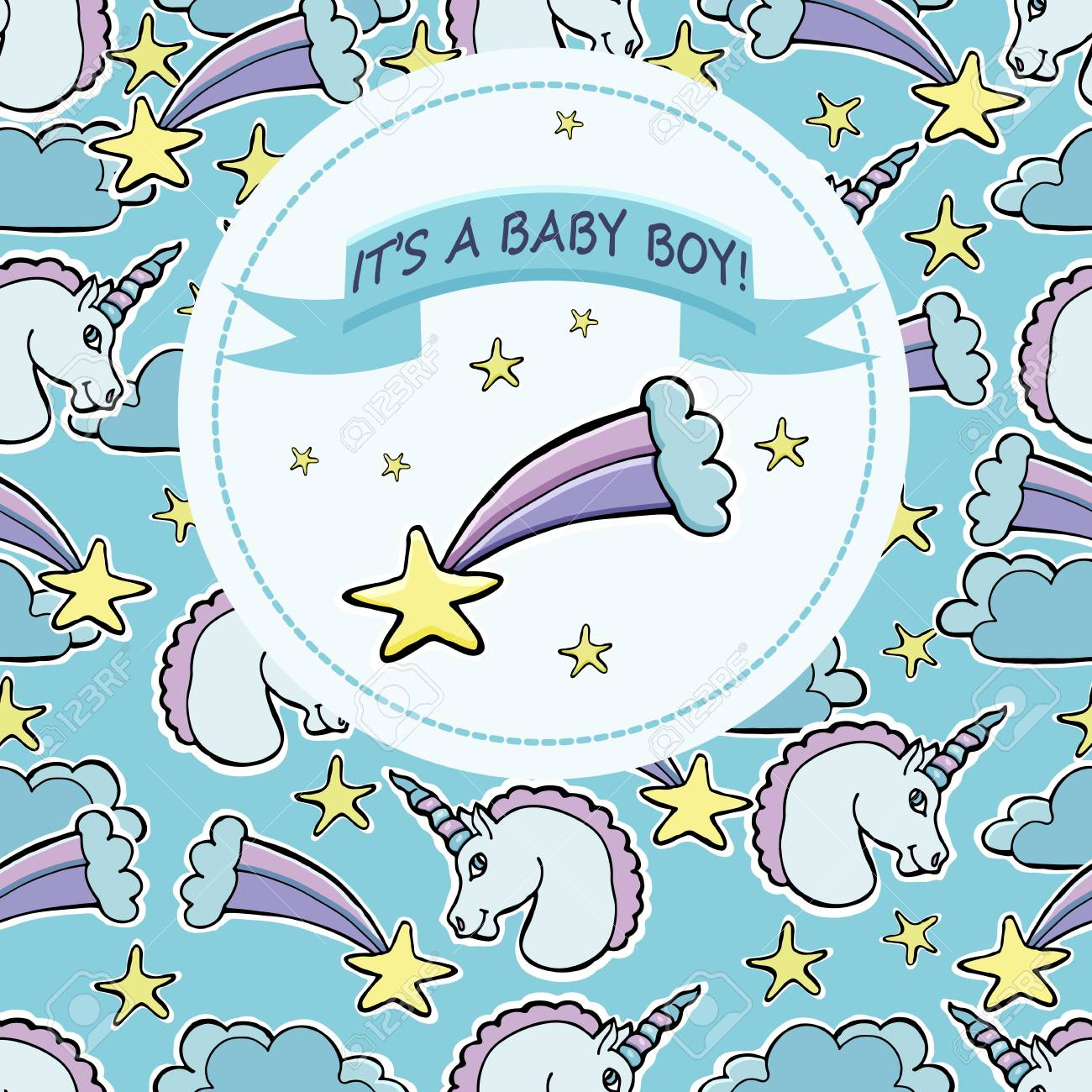 Vector Baby Shower Greeting Card Text It S A Baby Boy Royalty Free