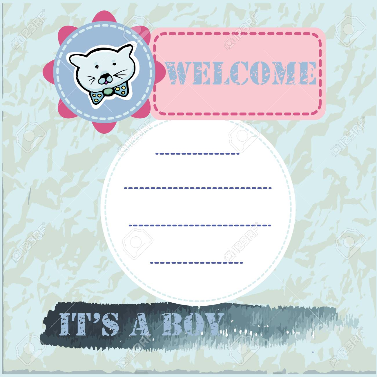 78fb5e053 Baby Shower And Welcome Greeting Card. Text It s A Boy