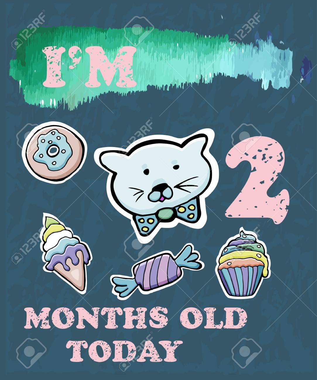 vector baby milestone card for girl or boy i am two months old