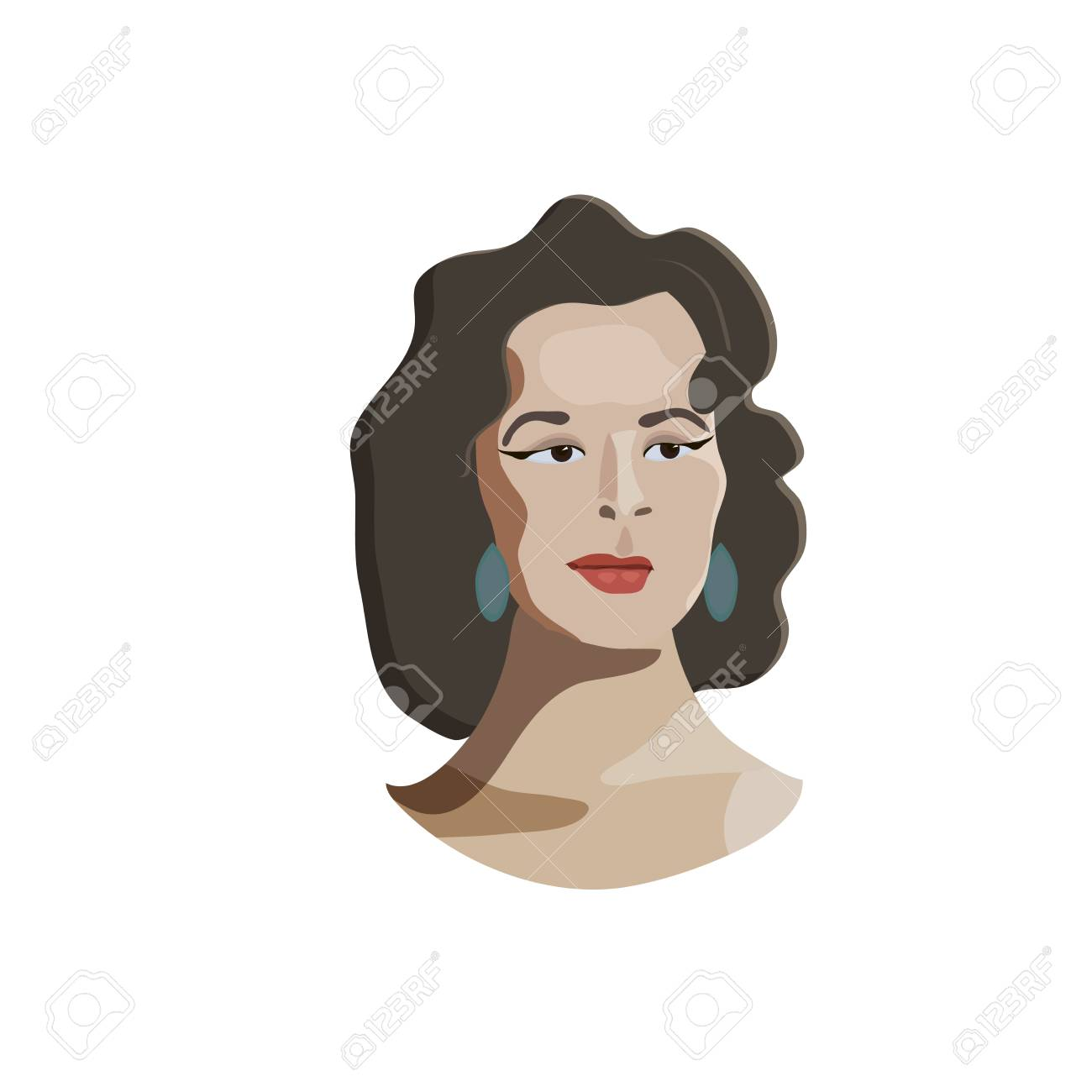 Hollywood Diva Dark Hair Hair Woman Vector Cartoon Illustration