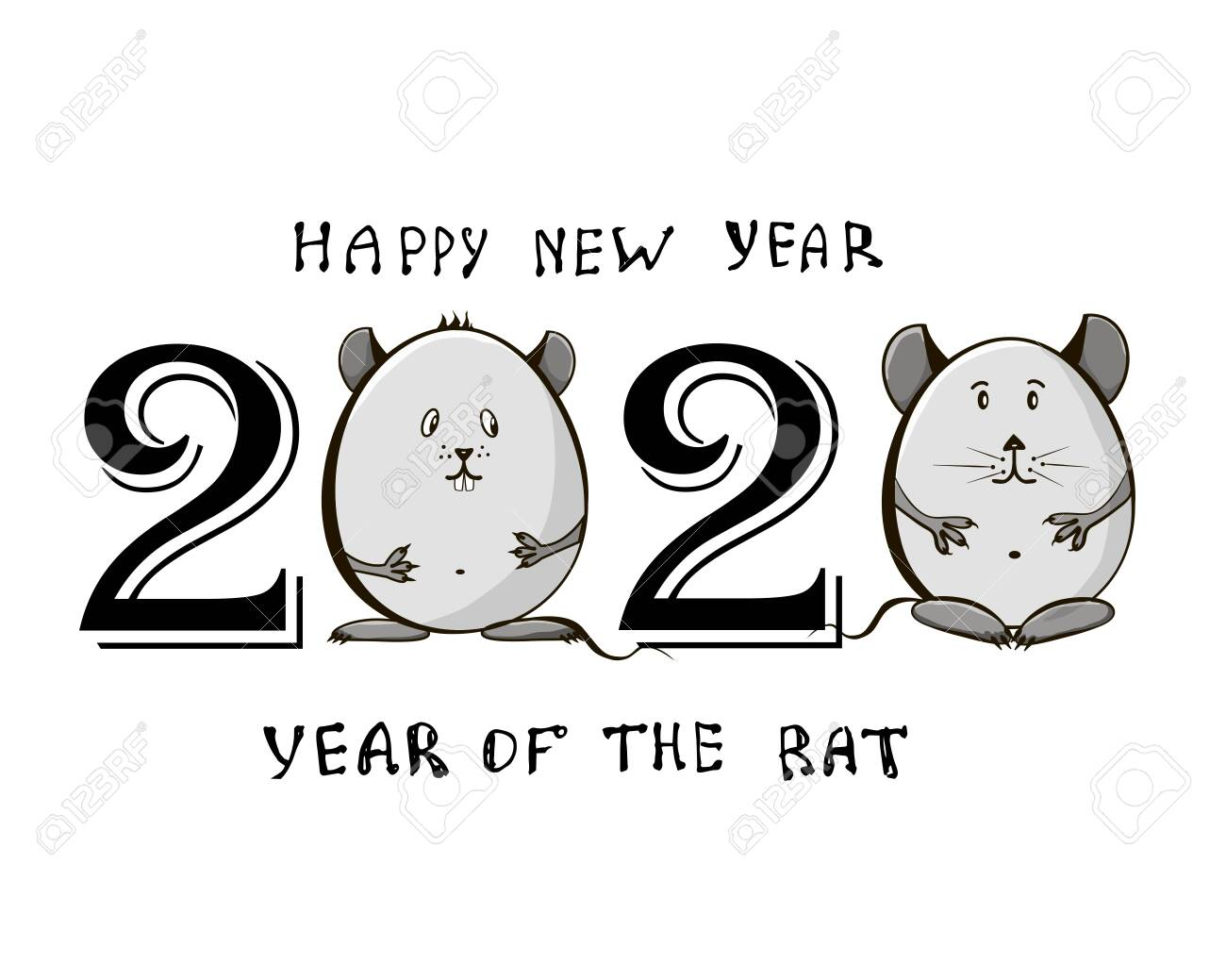 2020 Chinese New Year Date.Cute Little Rats With The Date 2020 Chinese New Year Of The