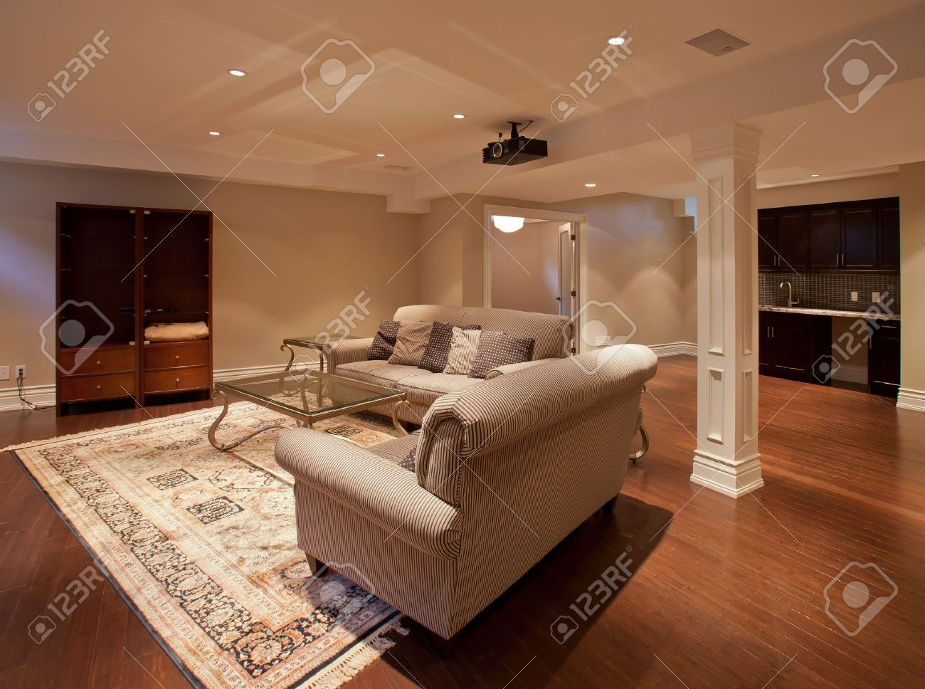 Basement entertainment room - Modern Home Entertainment Room In The Basement Stock Photo 10907508