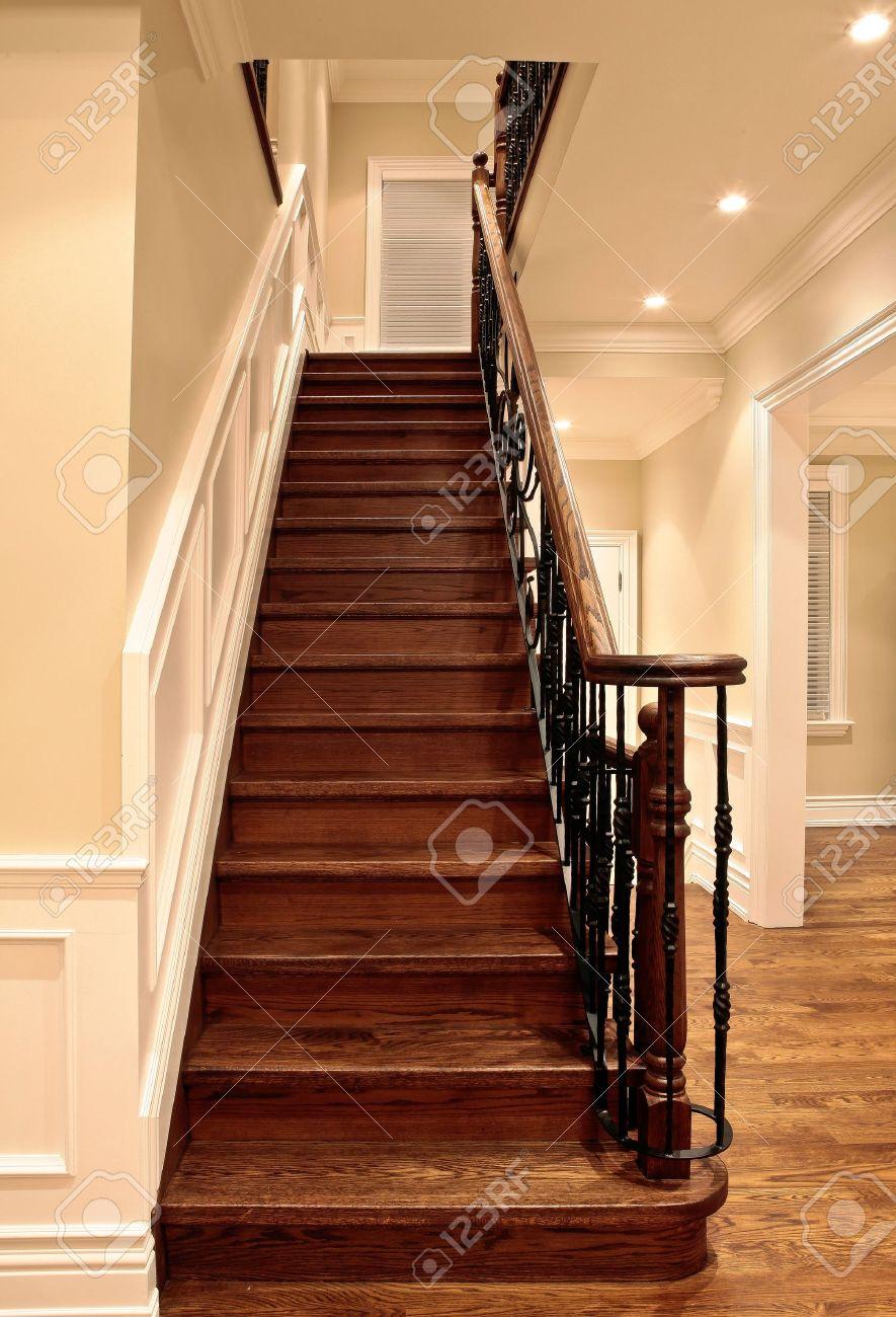 Elegant Oak Stairs In Luxury House Stock Photo   10907509