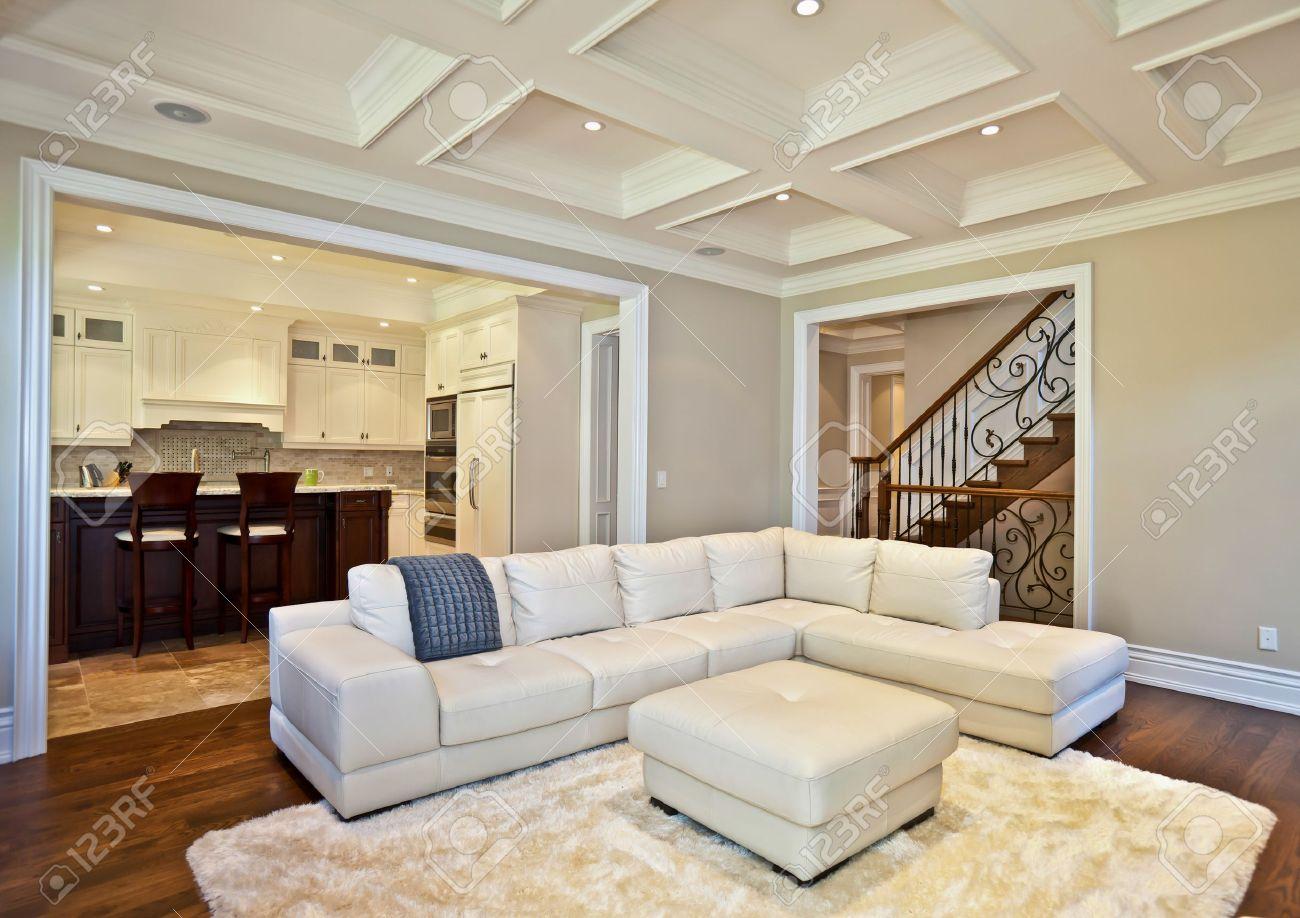 elegantes wohnzimmer in einem luxus-immobilien-haus lizenzfreie, Wohnzimmer dekoo