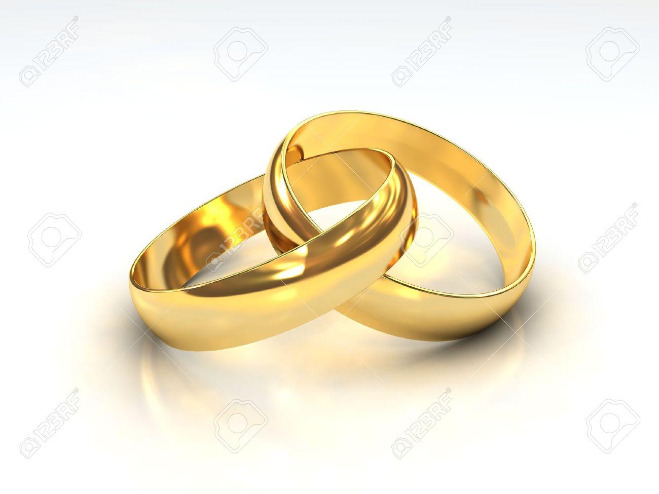 Ein Paar Goldene Hochzeit Ringe Auf Weissem Hintergrund Lizenzfreie