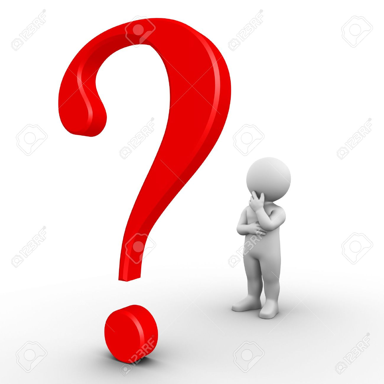 Bobby is wondering about a problem he can not solve; big question mark Stock Photo - 9393962