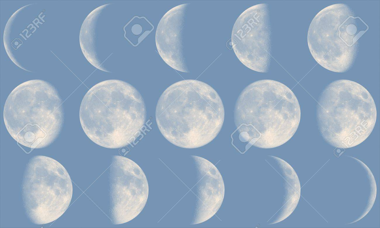 The Moon With Its Phases During Day Time Stock Photo Picture And