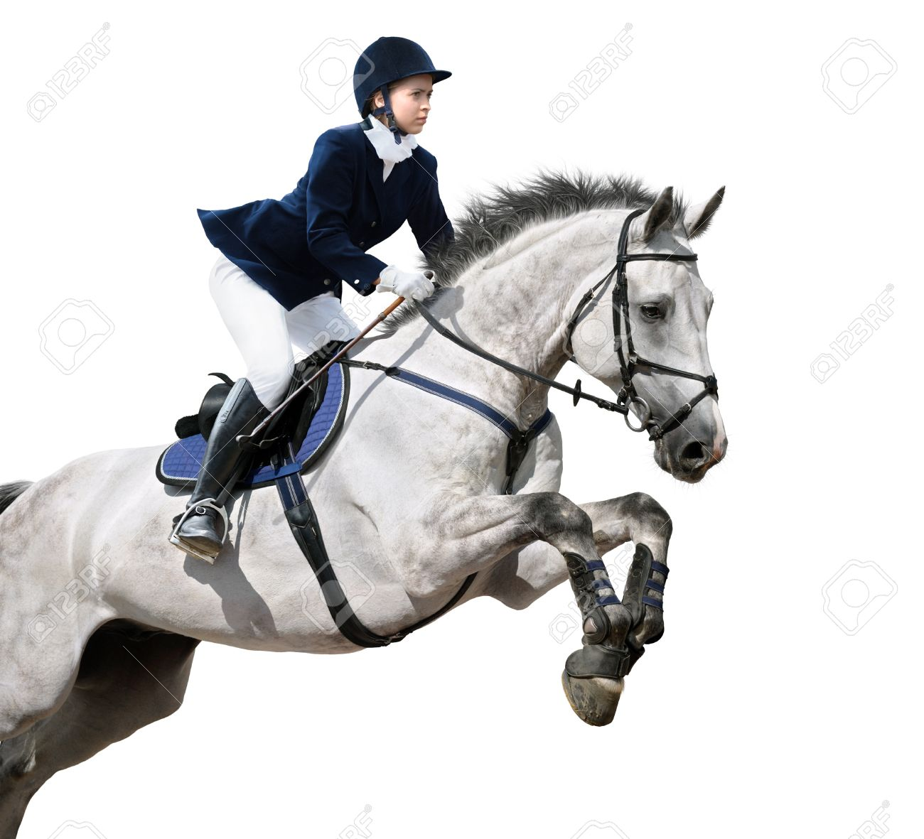 Young girl jumping with grey horse - isolated on white Stock Photo - 9656535