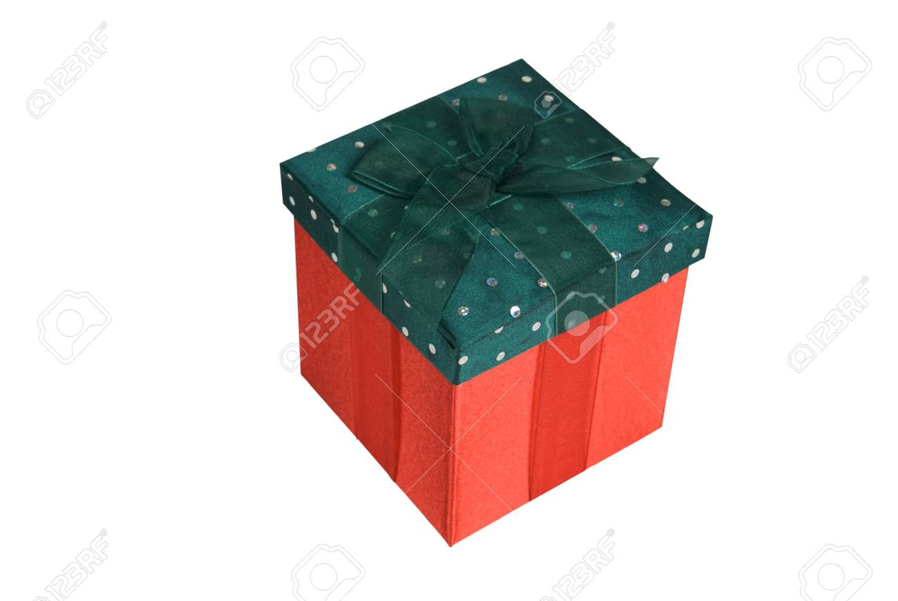 Gifts wrapped in red and green material with colorful ribbons Stock Photo - 1991111