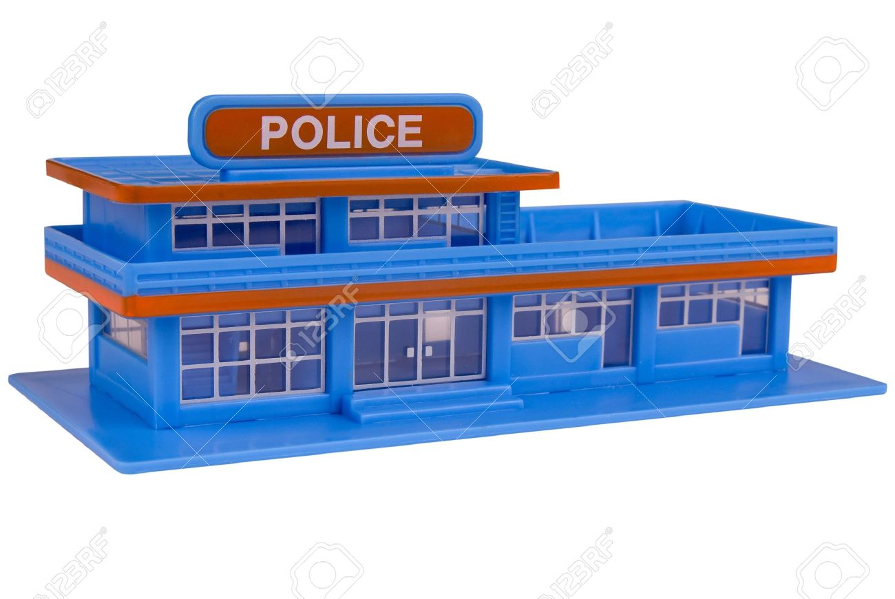 toy Police Station in the color of blue isolated over a white background Stock Photo - 2110533