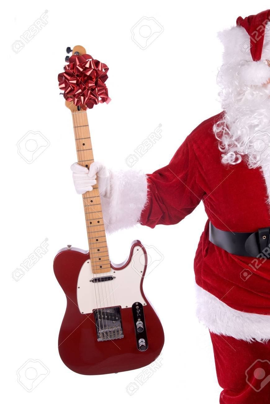 Santa Claus holding a red guitar electric guitar isolated over white Stock Photo - 2110617