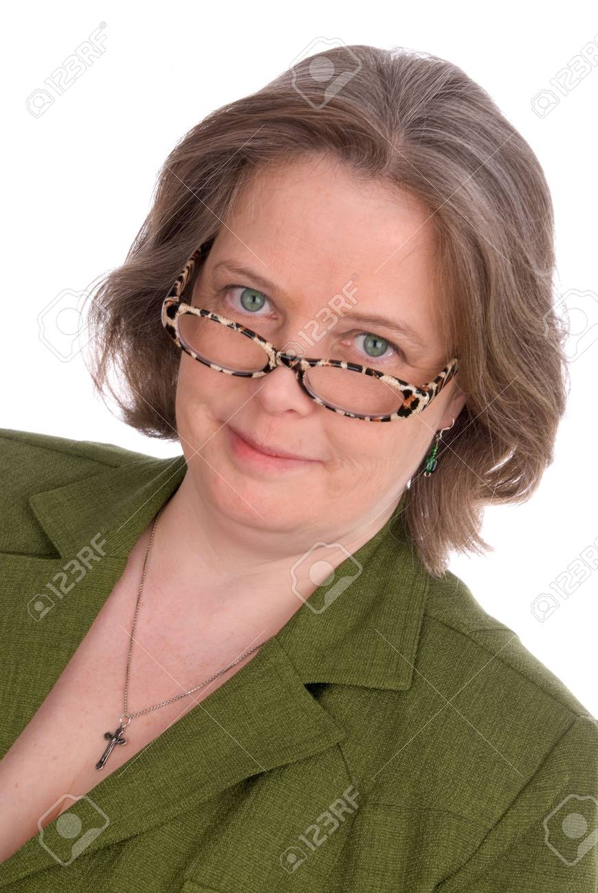 Older Irish woman with green outfit,glasses and green eyes isolated over white Stock Photo - 2115537