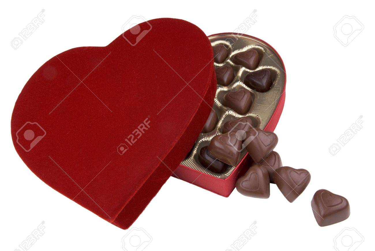 Plush Red Velvet Valentine Candy Box With Chocolate Hearts Spilling