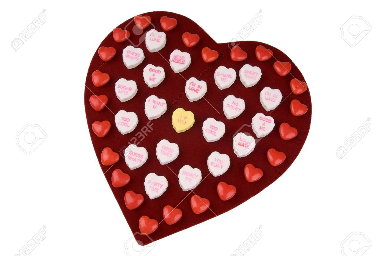 Chocolate Valentine Heart Box With Candy Hearts Stock Photo Picture