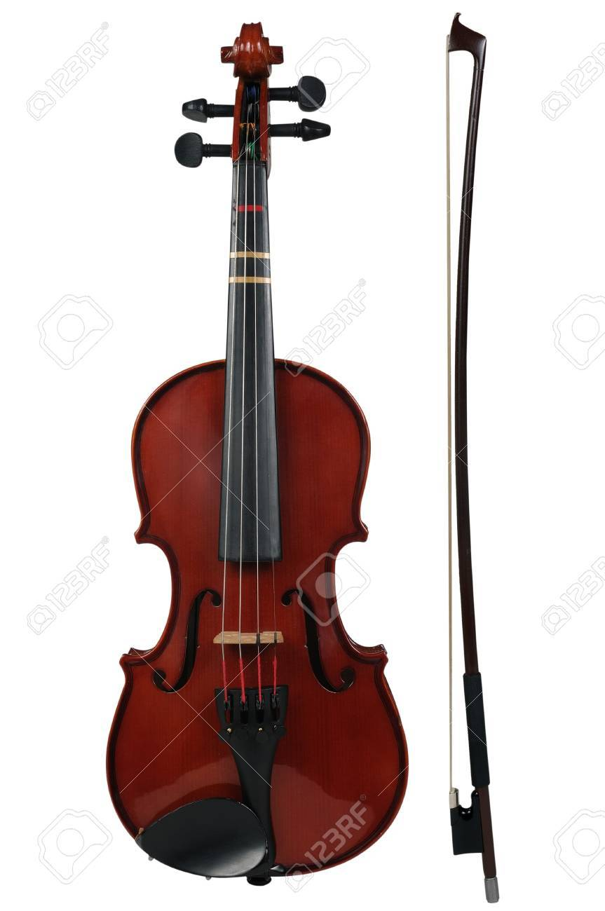 Violin and bow isolated over a white background with path Stock Photo - 4077494