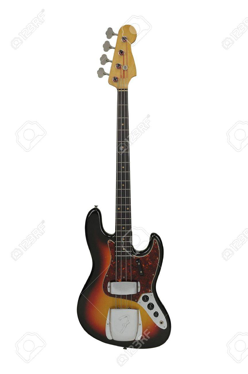 Vintage Electric Bass guitar isolated over a white background Stock Photo - 12916667