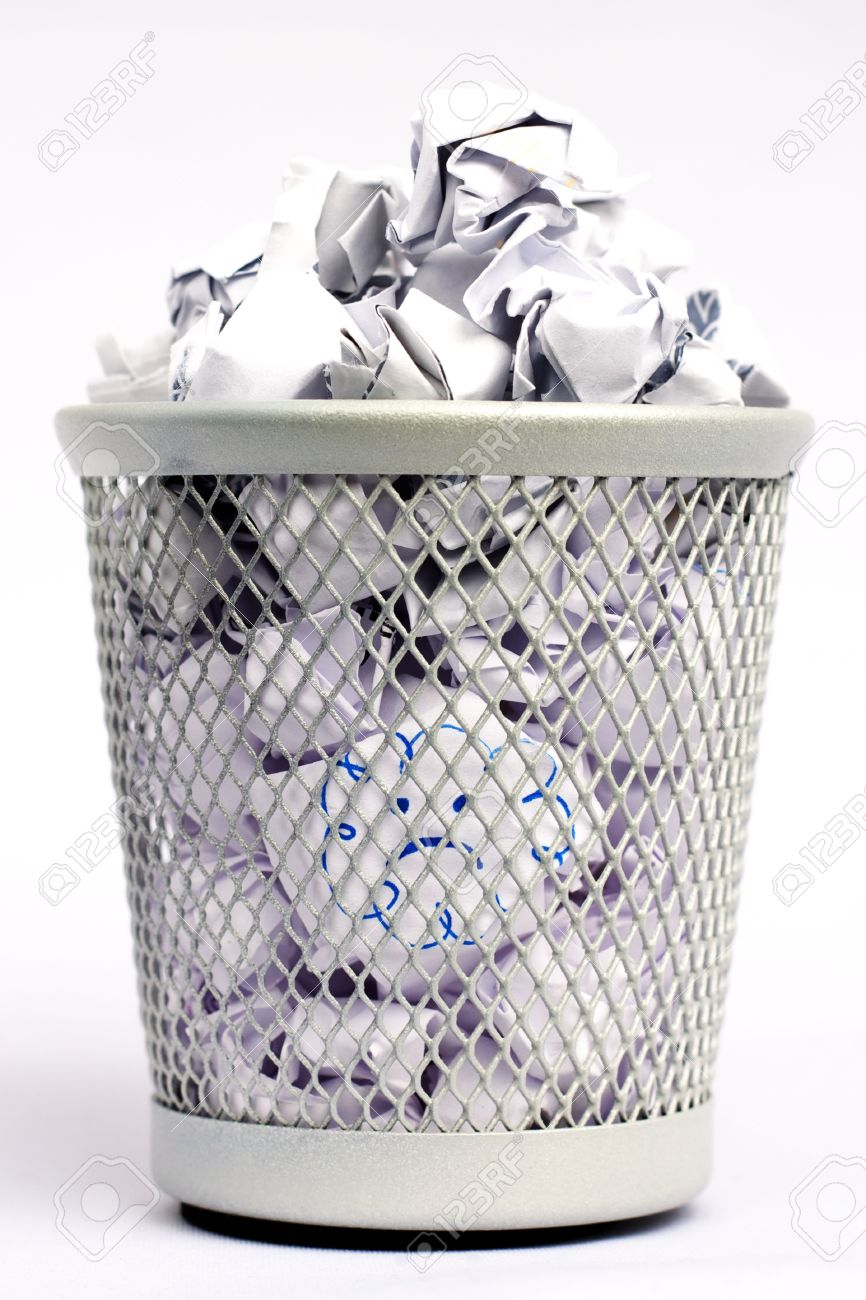 Silver Colored Metal Paper Bin Full Of White Paper Pieces Rolled ...