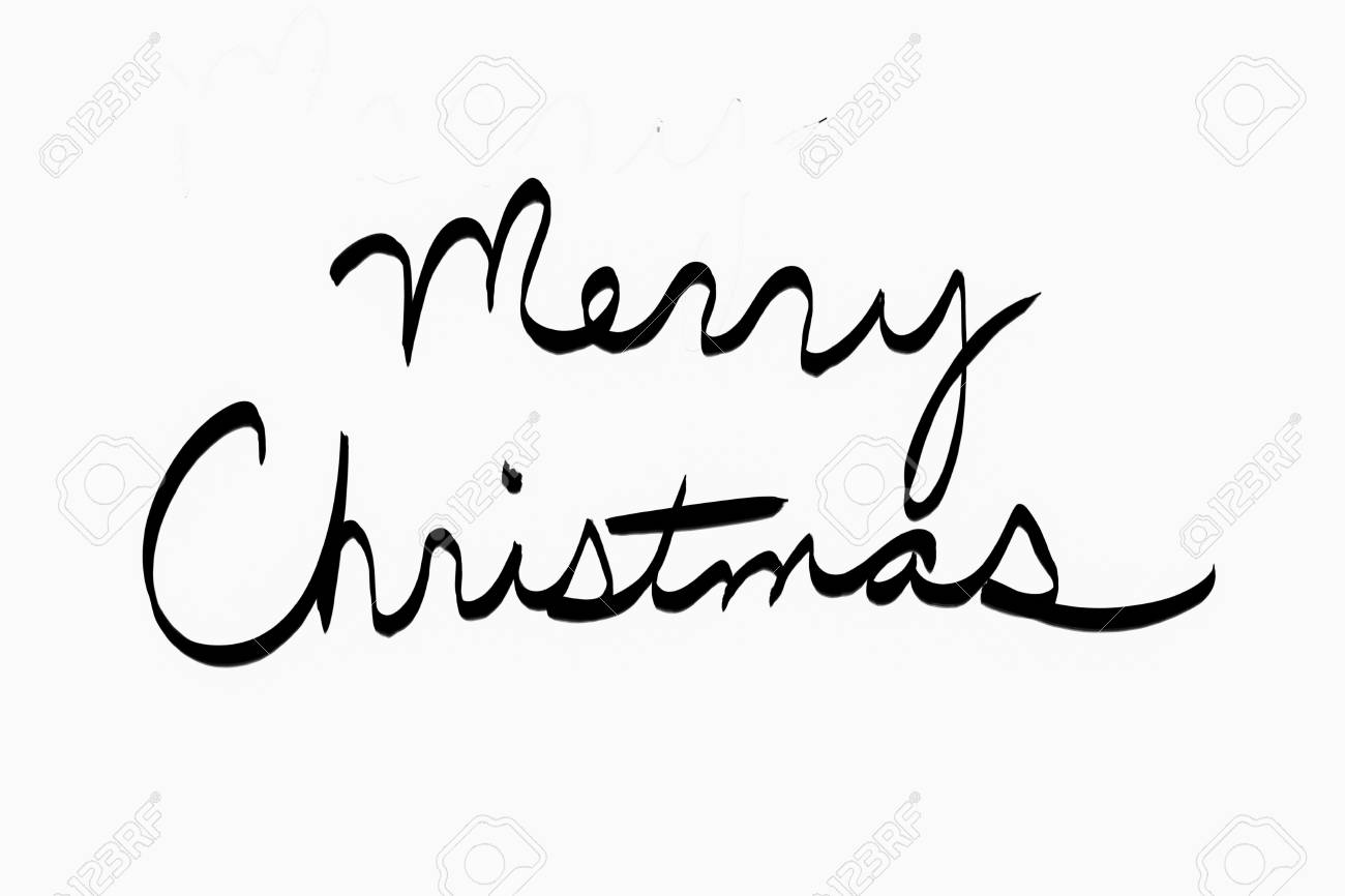 Merry Christmas In Cursive.Merry Christmas In Black Cursive On White