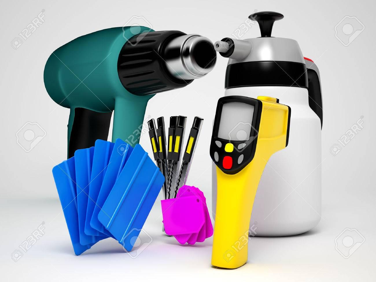 Car wrapping tools. High qualiti  photo realistic render Standard-Bild - 39042755