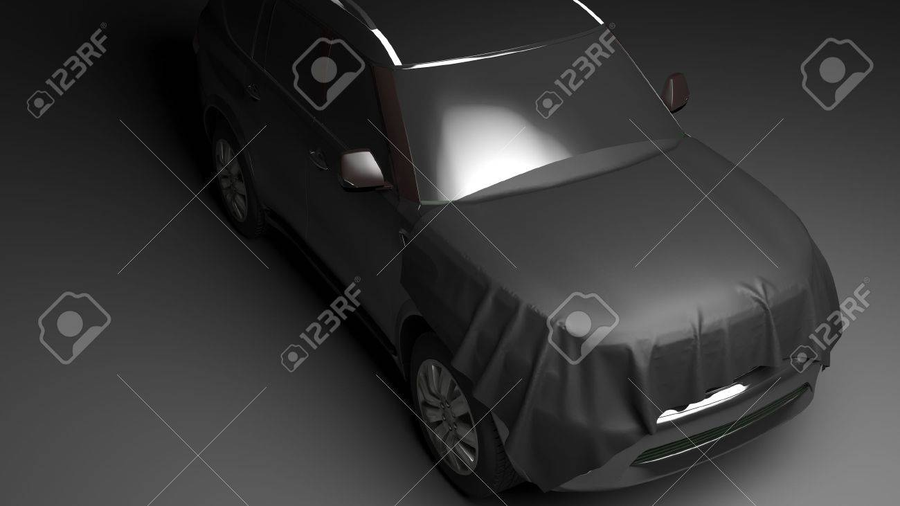 SUV with wrapped hood. High quality  photo realistic render Standard-Bild - 44243142