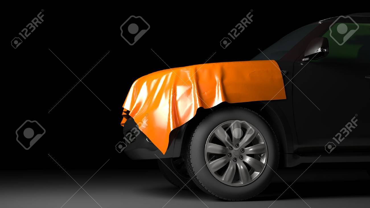SUV with wrapped hood. High quality  photo realistic render Standard-Bild - 44243157