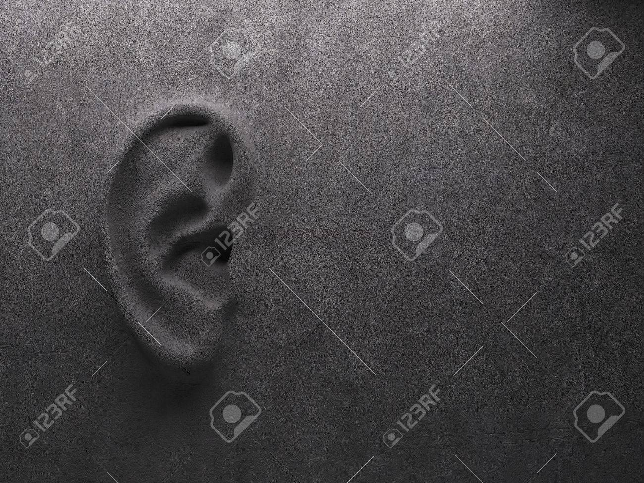 Ear on wall concept. High quality photo realistic render Standard-Bild - 47919488