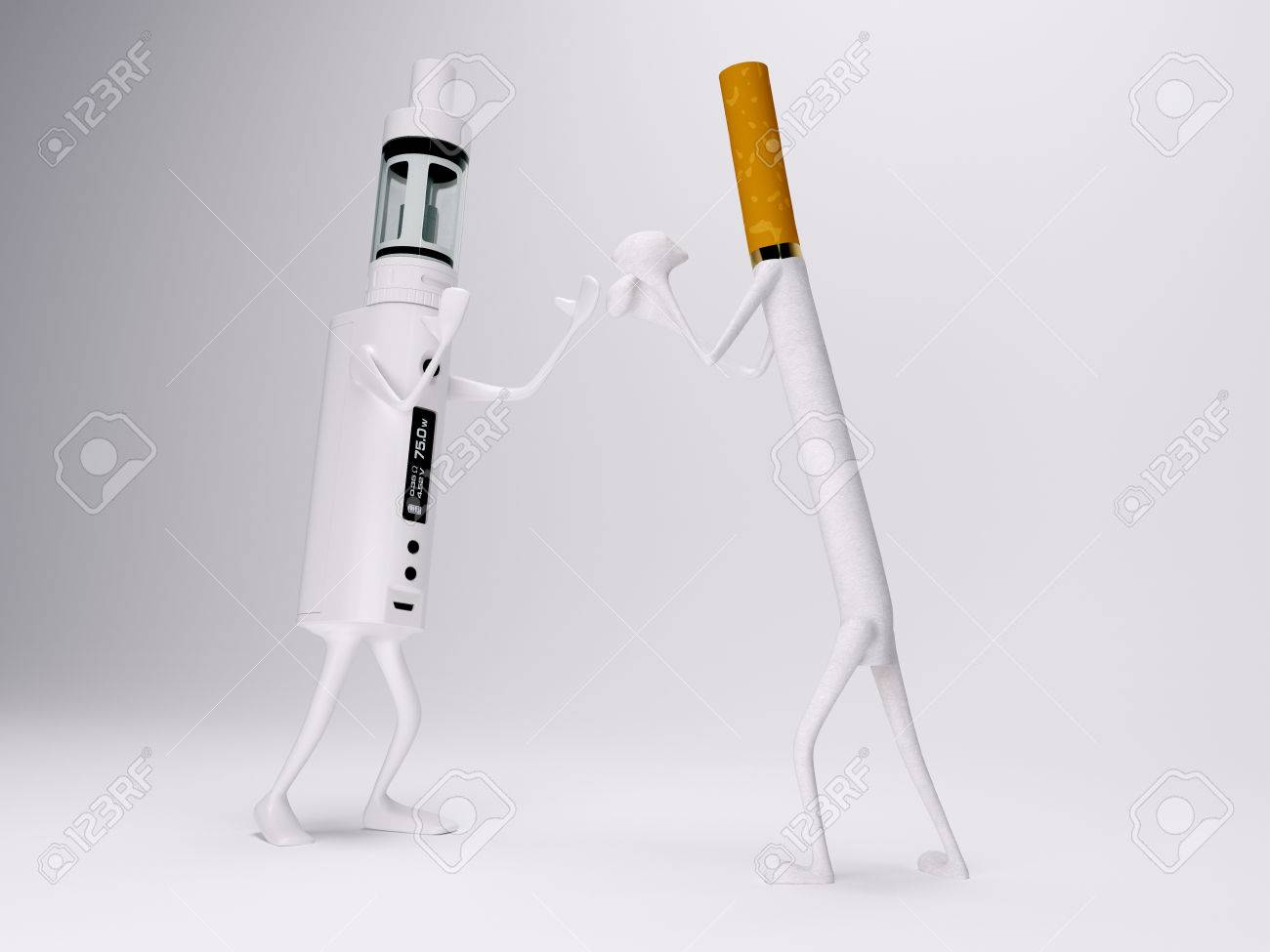 Vaping battery mod fighting with cigarette 3d realistic render Standard-Bild - 54692215