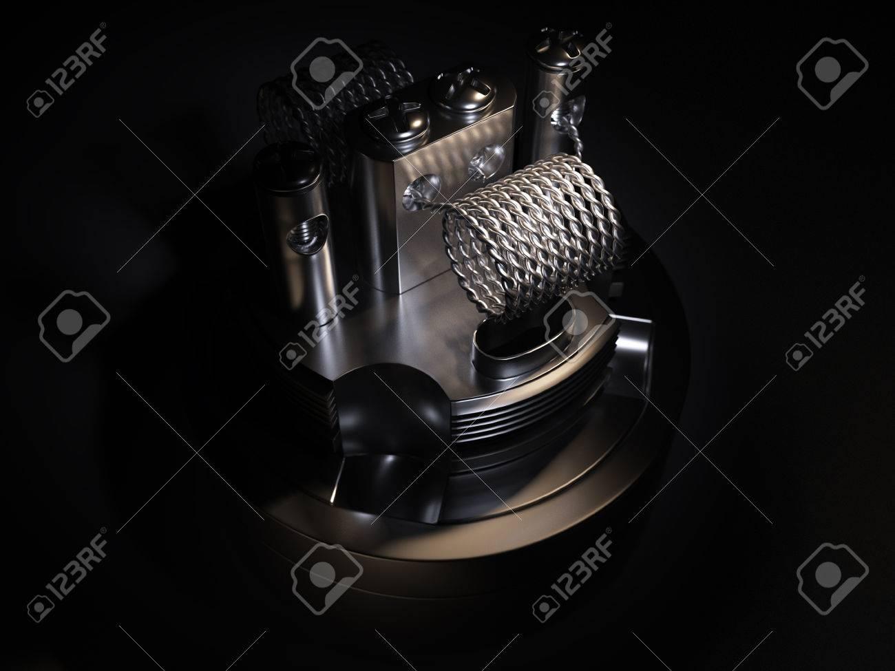 Vaping atomizer with twist coil. Black background Standard-Bild - 54359990