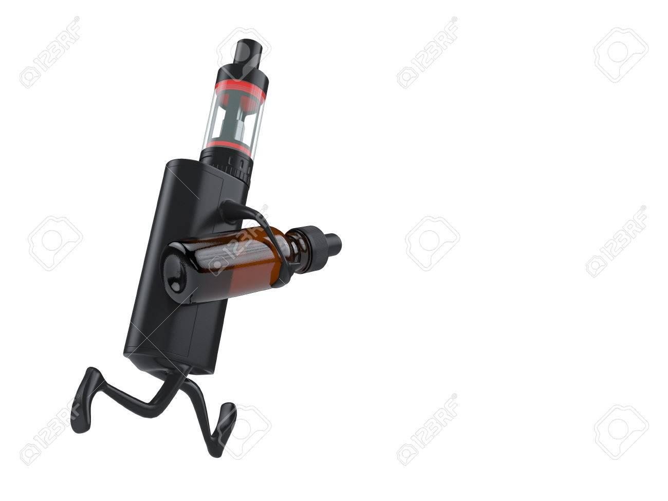 Running vaping ecig battery mod with ejuice bottle. Render Standard-Bild - 54499871