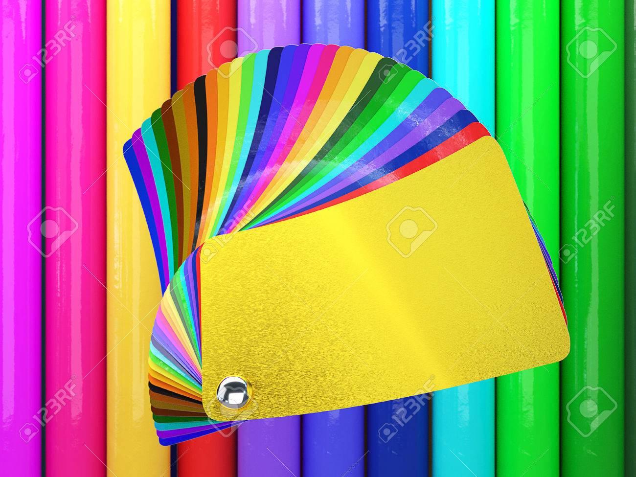 Car wrapping film color palette swatch. 3d render Standard-Bild - 54472979