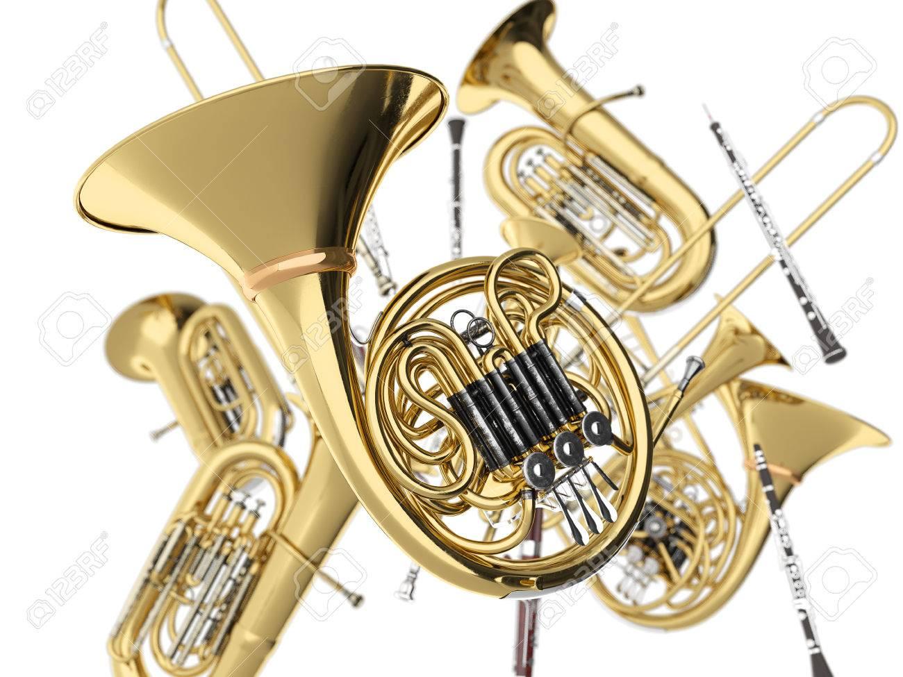Wind musical instruments  on white. 3d render Standard-Bild - 58115943
