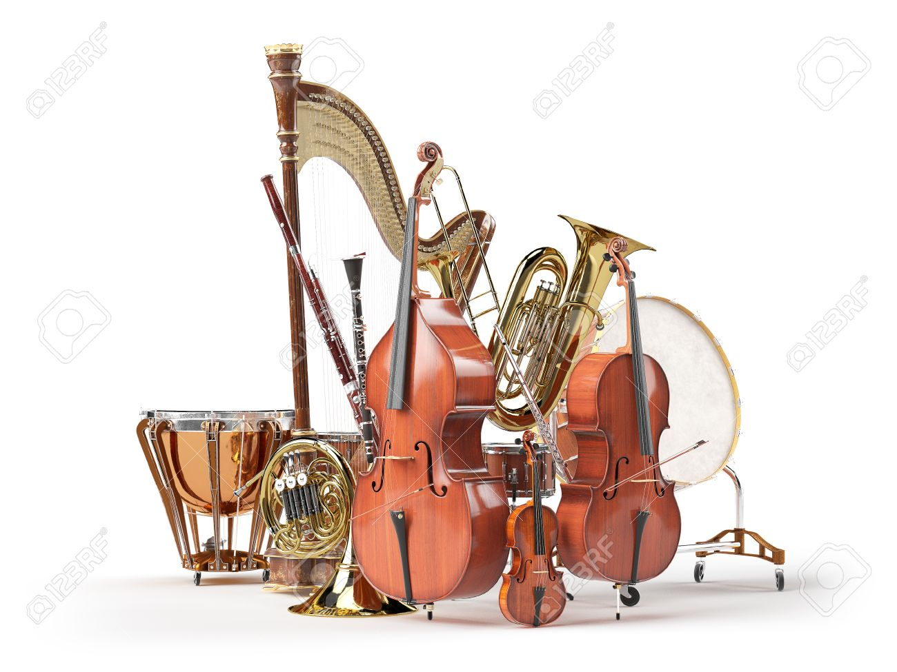 Orchestra musical instruments isolated on white. 3d render Standard-Bild - 58115944