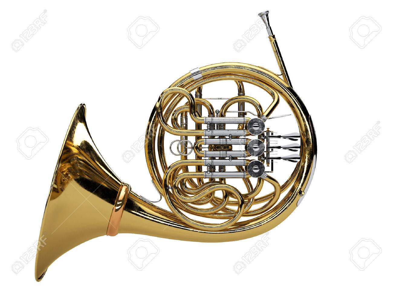 Aged french horn isolated on white background. 3d render Standard-Bild - 58115985