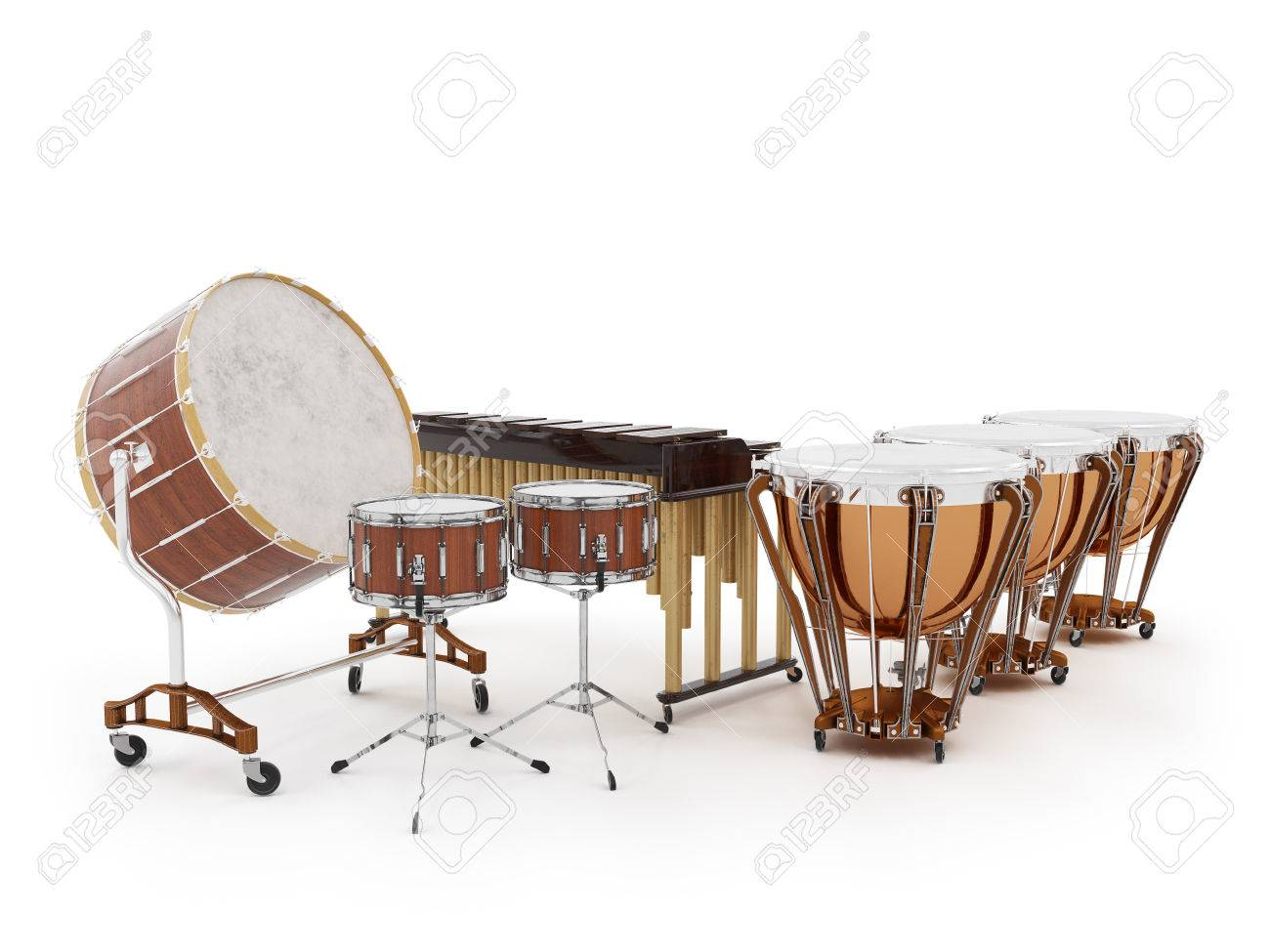 Orchestra drums isolated on white  background 3D rendering Standard-Bild - 58194411