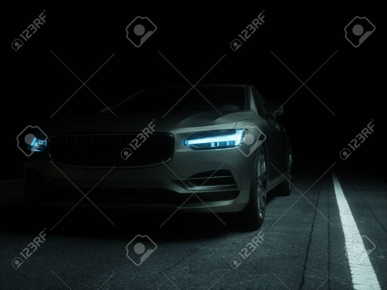 Car wrapped in silver carbon film. 3d render Standard-Bild - 60063358