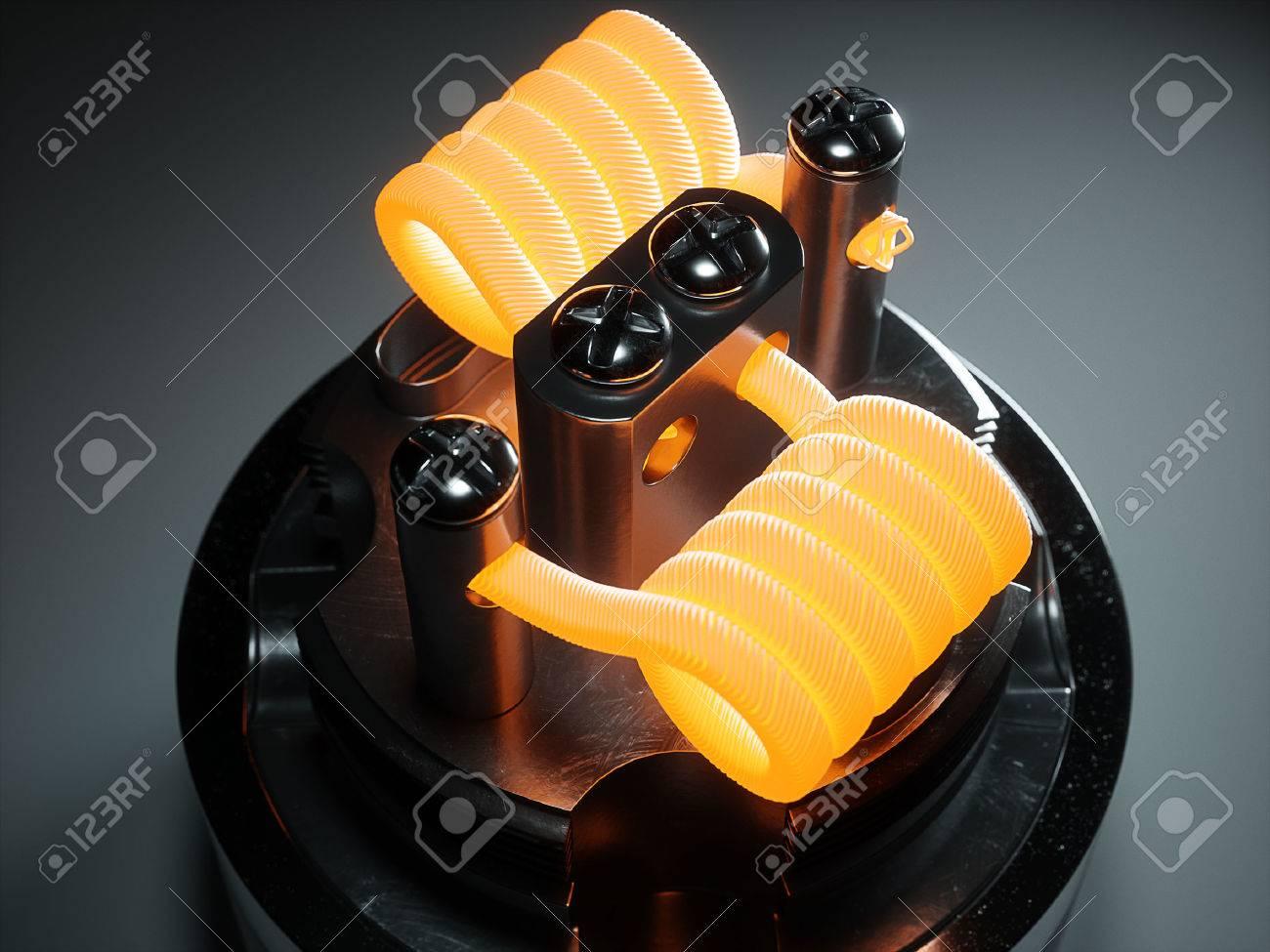 Vaping atomizer with clapton coil. Black background Standard-Bild - 60457624