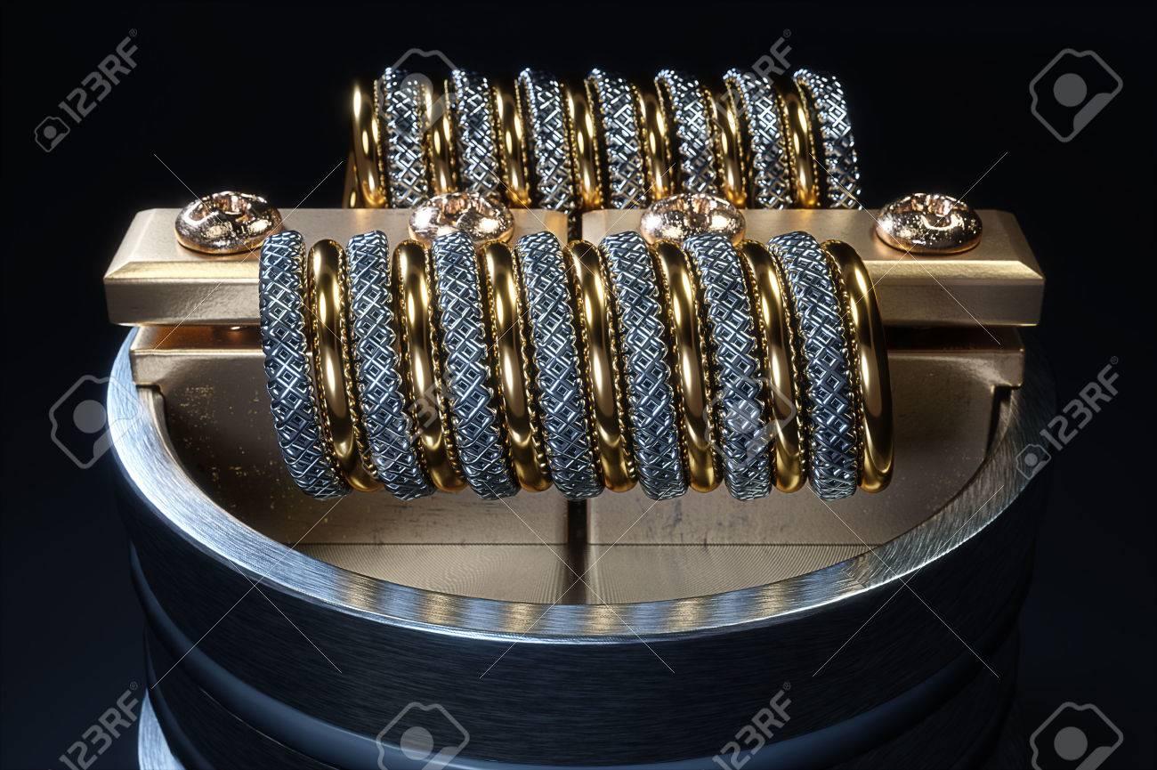 Vaping atomizer with clapton coil. Black background Standard-Bild - 61925909