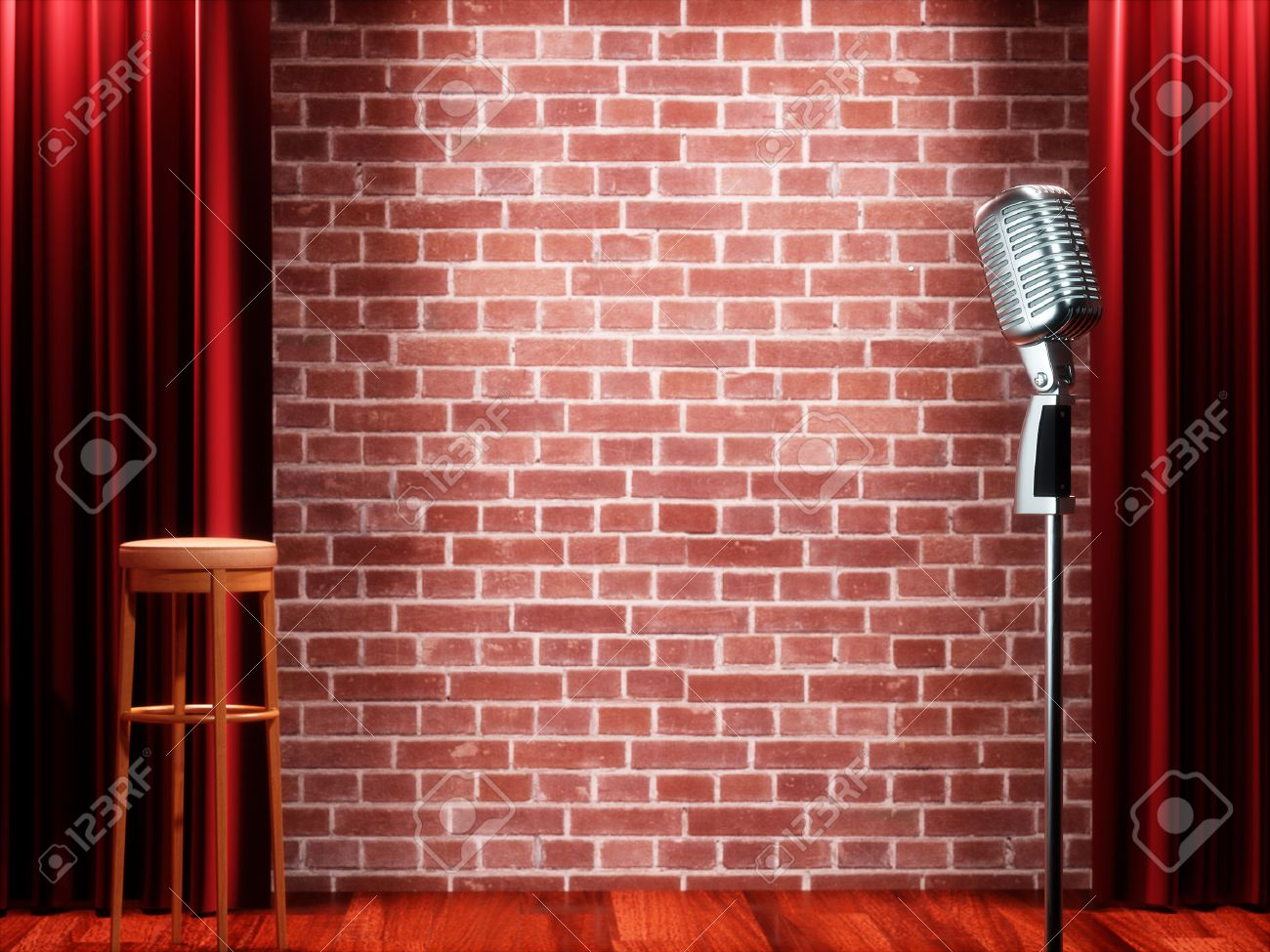 Vintage metal microphone against red curtain on empty theatre stage. 3D illustration Standard-Bild - 66185360