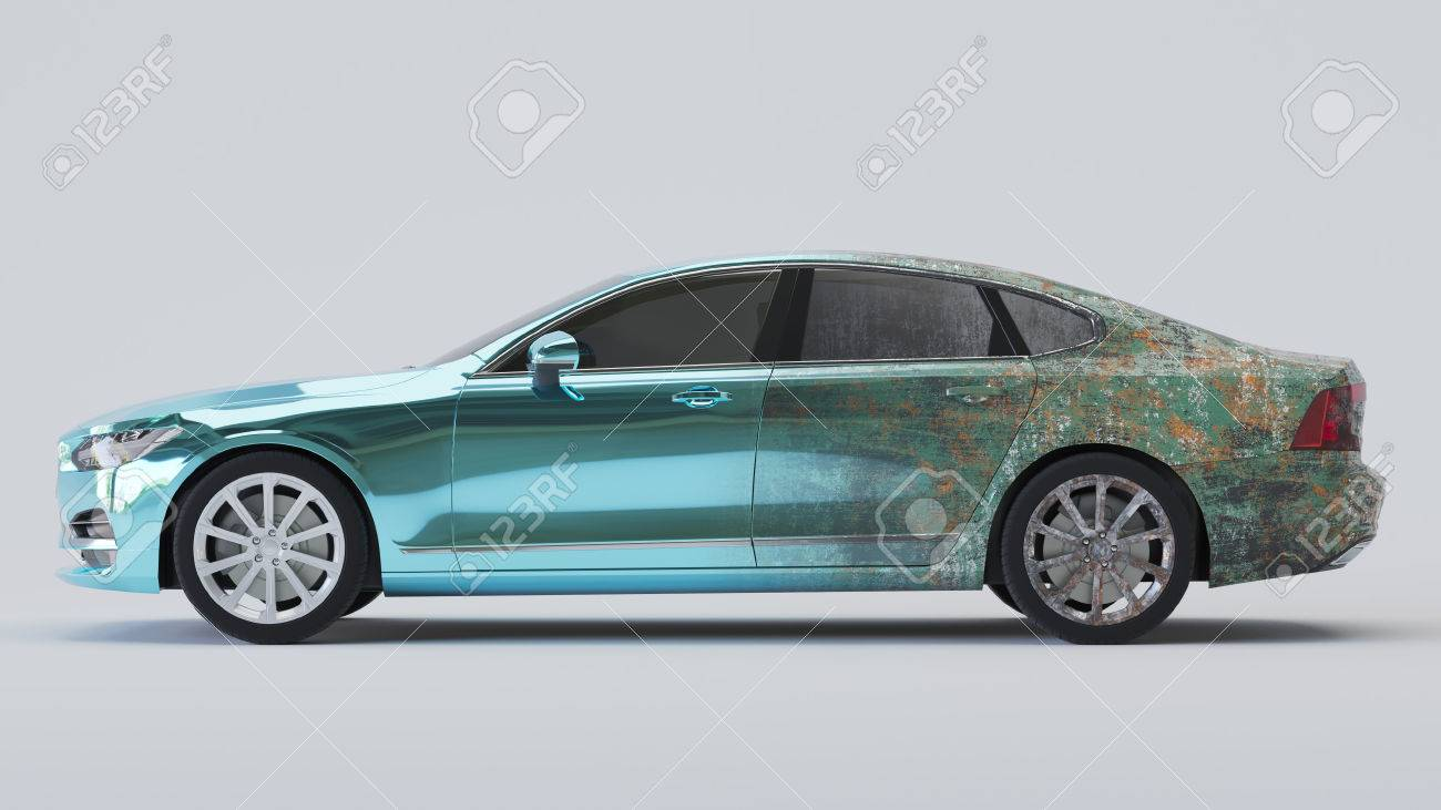 Car half aged and half wrapped in blue chrome. 3d rendering Standard-Bild - 68798139