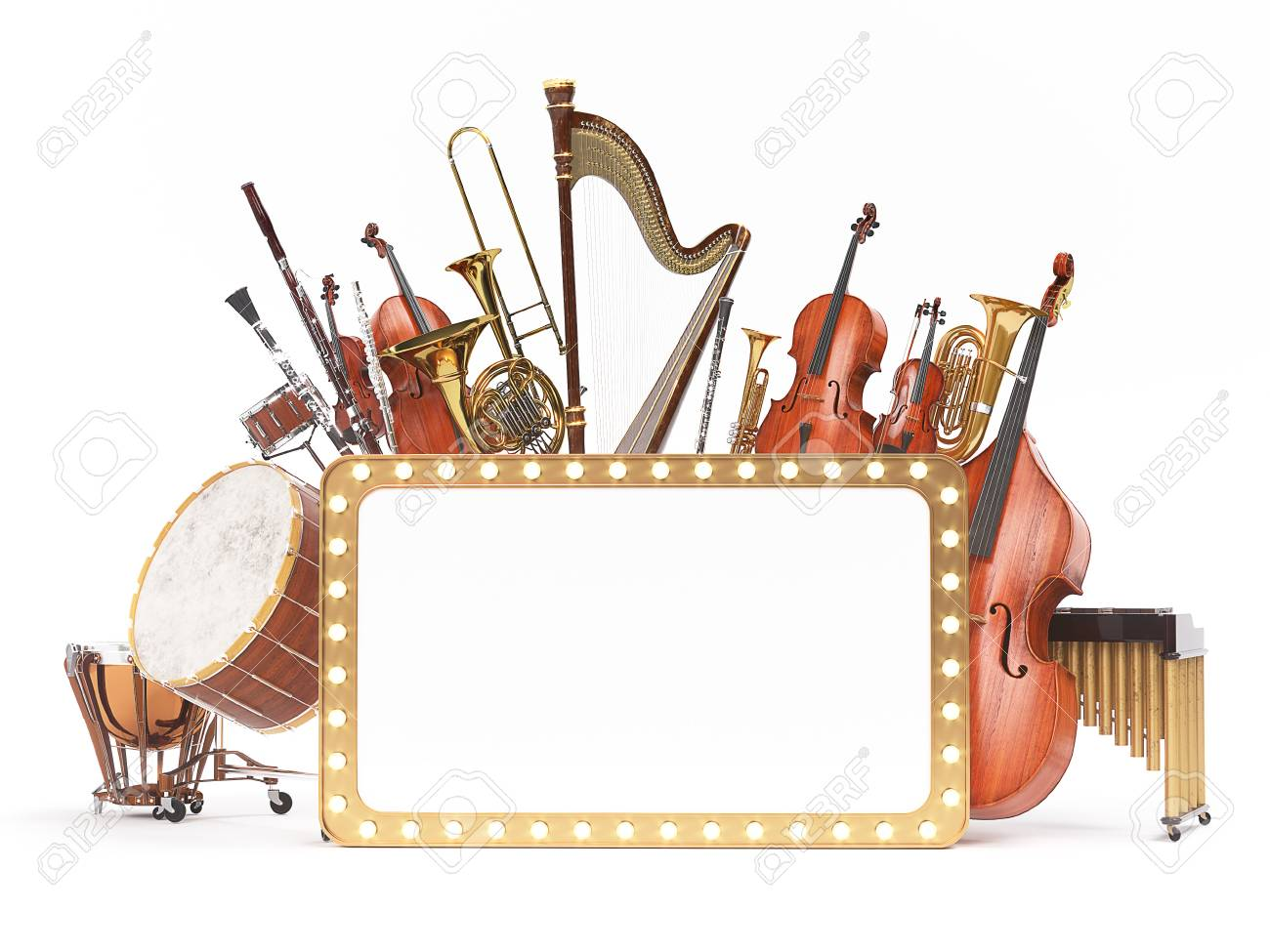Orchestra musical instruments 3D rendering