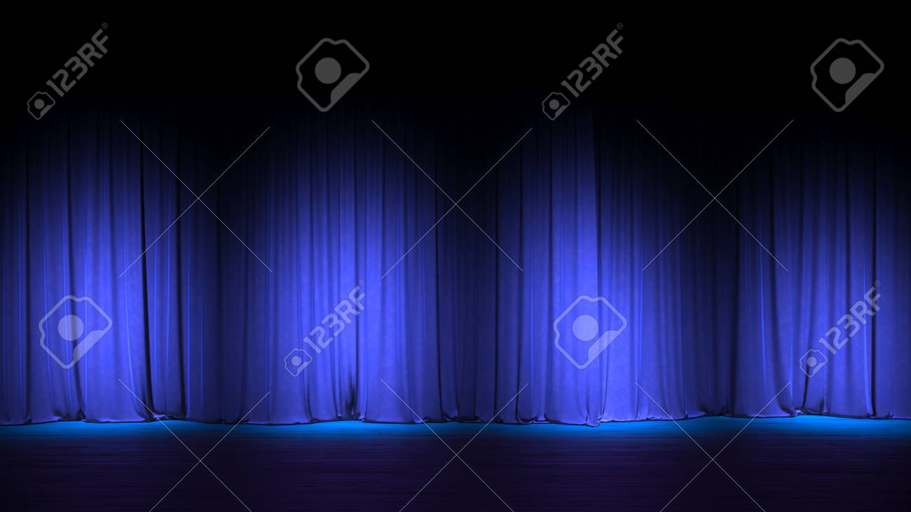 Dark Empty Stage With Rich Blue Velvet Curtains 3d Render Stock Photo