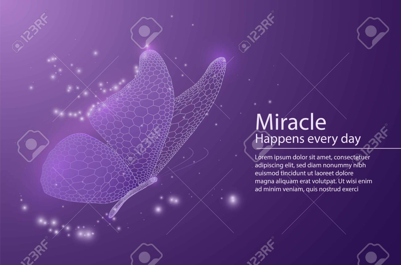 Butterfly composed of honeycomb. Low poly vector illustration of a star sky or space or underwater. The landing page or banner lines, dots and shapes. Wireframe technology light connection structure. - 127977545