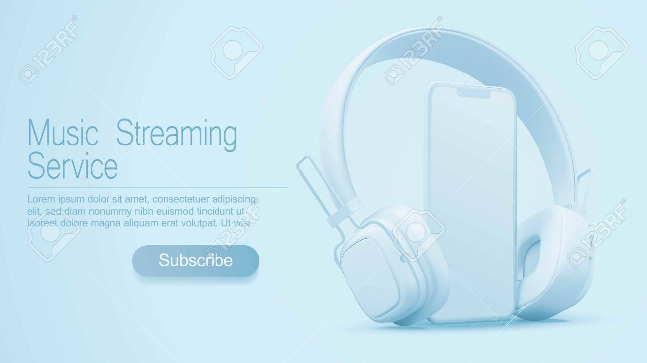 3D style headphones and smartphone on a light blue background, Concept banner design for music streaming service - 127977551