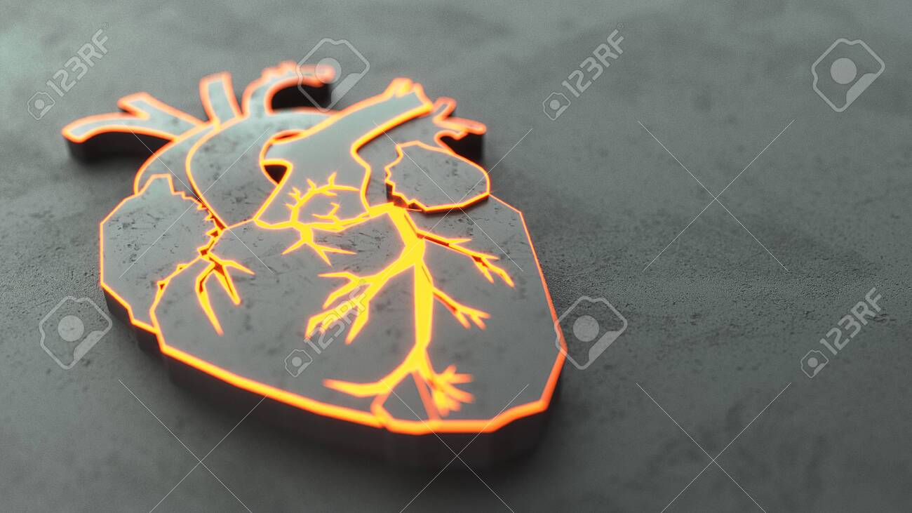 Abstract Flat heart on the stone surface concept. Medical or surgeon copy space web site slider template. 3d illustration - 127977555