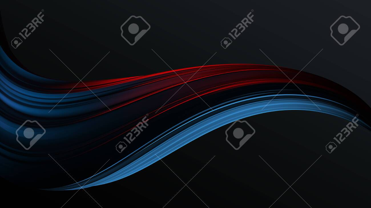 Blue to red colorful gradient abstract twisted shape of paint brush stroke . Digital art background template 3d render - 132153936