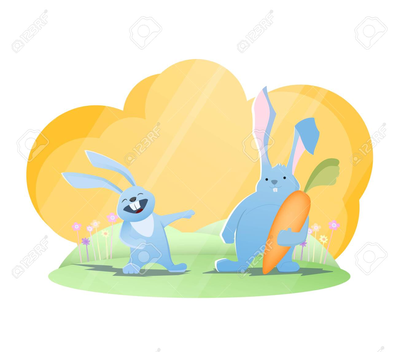 Funny rabbits. Rabbit laughing on another rabbit with huge carrot. Vector illustration - 133165163