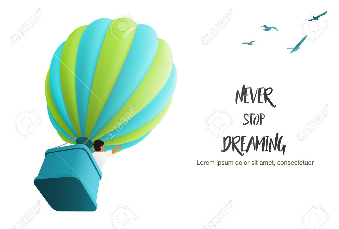 Hot air Ballon in the sky with boy in the basket directing upward following birds, vector illustration for motivating landing page template - 135043290