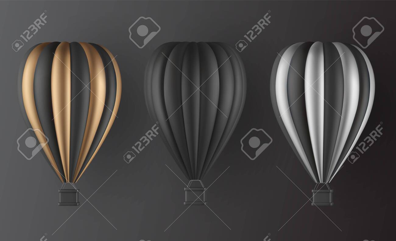 Realistic hot air balloon set in black gold and silver finish variation elements for landing page template, flyer or banner template. Vector illustration - 135045316