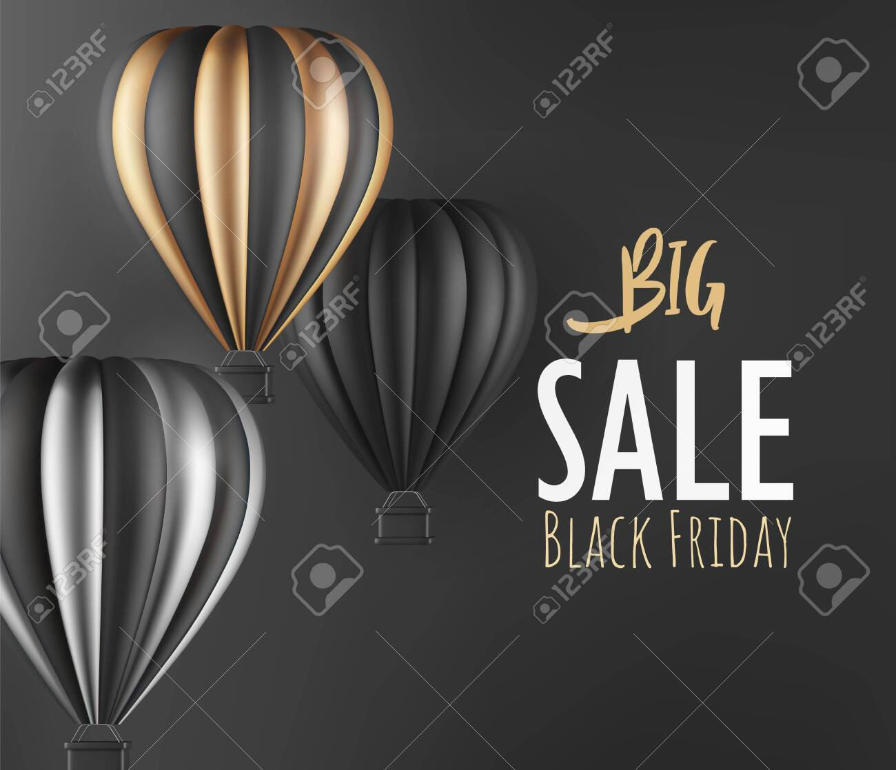 Realistic hot air balloon black gold and silver finish for black Friday flyer or banner template. Vector illustration - 135045494